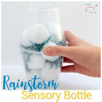 These rainstorm sensory bottles are so much fun for kids to make and really sound like rain is falling right in the cup! Sensory play for spring!