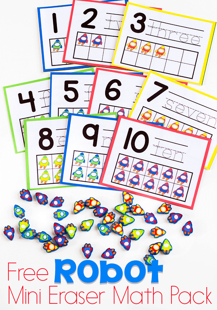 Preschool math is fun with this free printable rocket mini eraser math activity pack. Patterns, ten-frames, sorting and more!