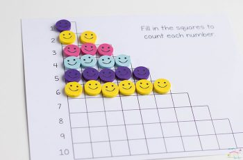 Do you love Dollar Spot mini erasers? This smiley face mini eraser activity pack for preschoolers is full of great math activities! Counting, sorting, matching, patterns and more!