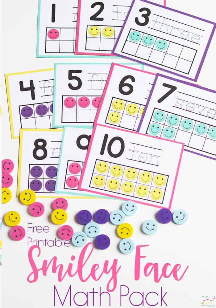 This smiley face mini eraser activity pack for preschoolers is full of great math activities! Counting, sorting, matching, patterns and more!