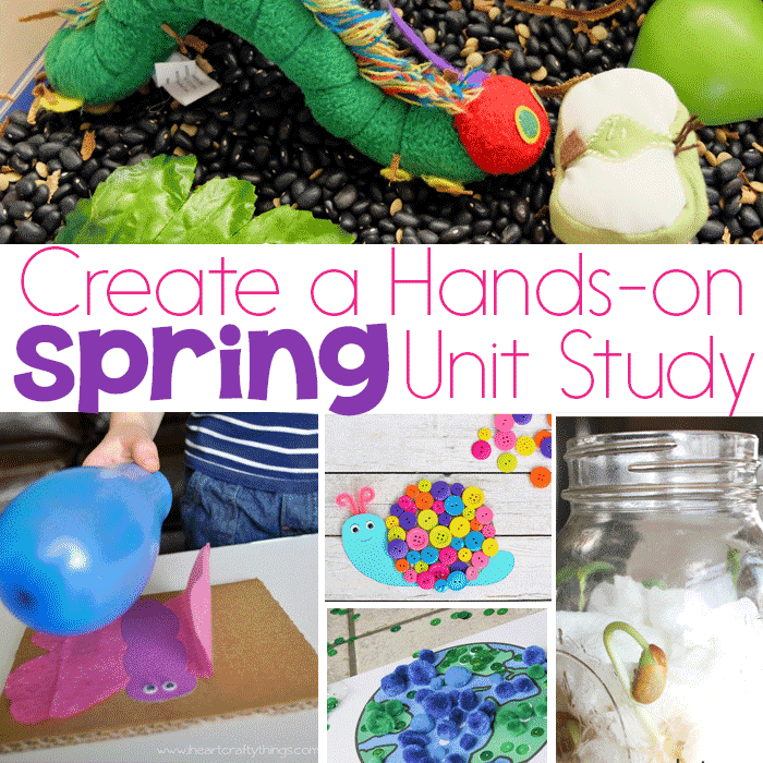 So many beautiful topics to explore for Spring! This Spring Unit Study combines them all! Butterflies, Earth Day, Easter, Gardens…. Create a hands-on spring theme with science, sensory, STEM, math, literacy, art and more!