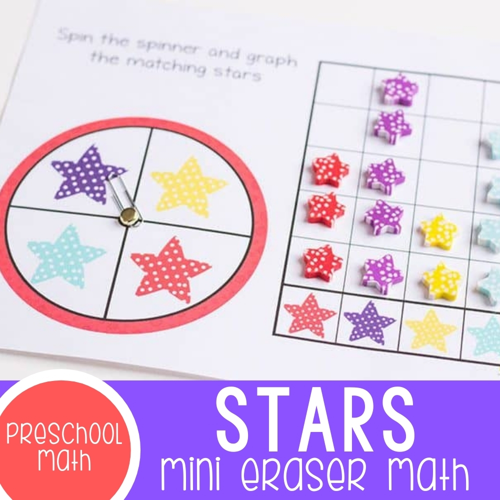 Polka Dot Star Mini Eraser Activities for Preschoolers