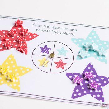 star mini eraser sorting activity
