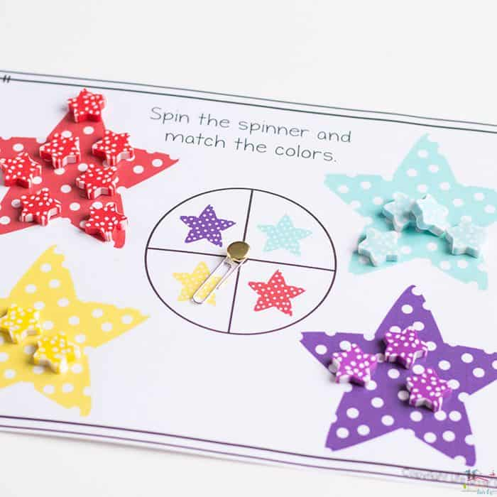 star mini eraser sorting activity