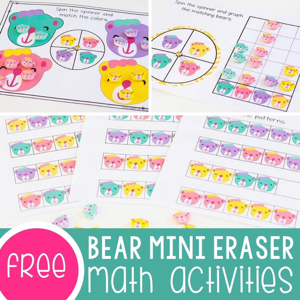 Bear Mini Eraser Math Activity Featured Square Image