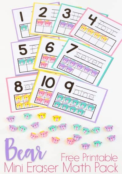 Bear Mini Eraser Math Activity Pack for Preschoolers