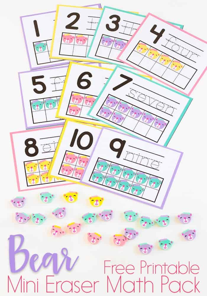 Preschool math is fun with this free printable bear mini eraser math activity pack. Patterns, ten-frames, sorting and more! Kids will love these bear mini erasers!
