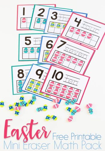 Preschool math is fun with this free printable spring mini eraser math activity pack. Patterns, ten-frames, sorting and more! Kids will love these Easter Egg mini erasers!