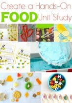 Create a hands-on food unit study with these fun activities and printables! From gardens to food groups kids will love these food activities! Science, math, literacy, sensory and more!