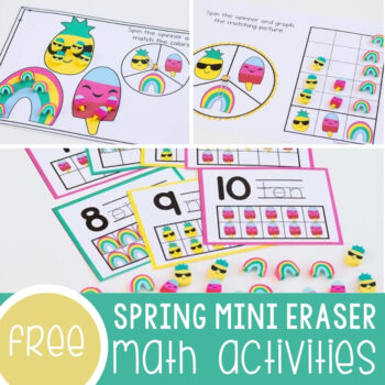 Spring Mini Eraser Math Activities Featured Square Image