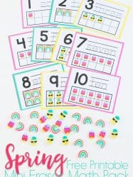 Spring Mini Eraser Math Pack for Preschoolers: Pineapple, Popsicle, Rainbows