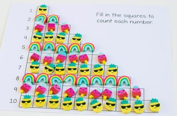 Count to 10 with mini erasers! These adorable pineapples, popsicles and rainbows from the Dollar Spot are so fun to learn with!