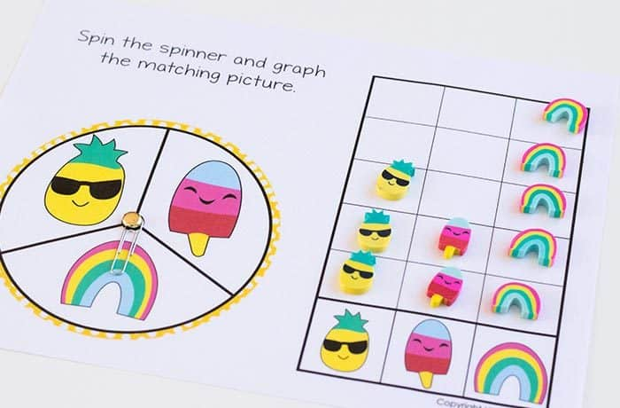 Preschool math is fun with this free printable spring mini eraser math activity pack. Patterns, ten-frames, sorting and more! Kids will love these pineapple, popsicle and rainbow mini erasers!