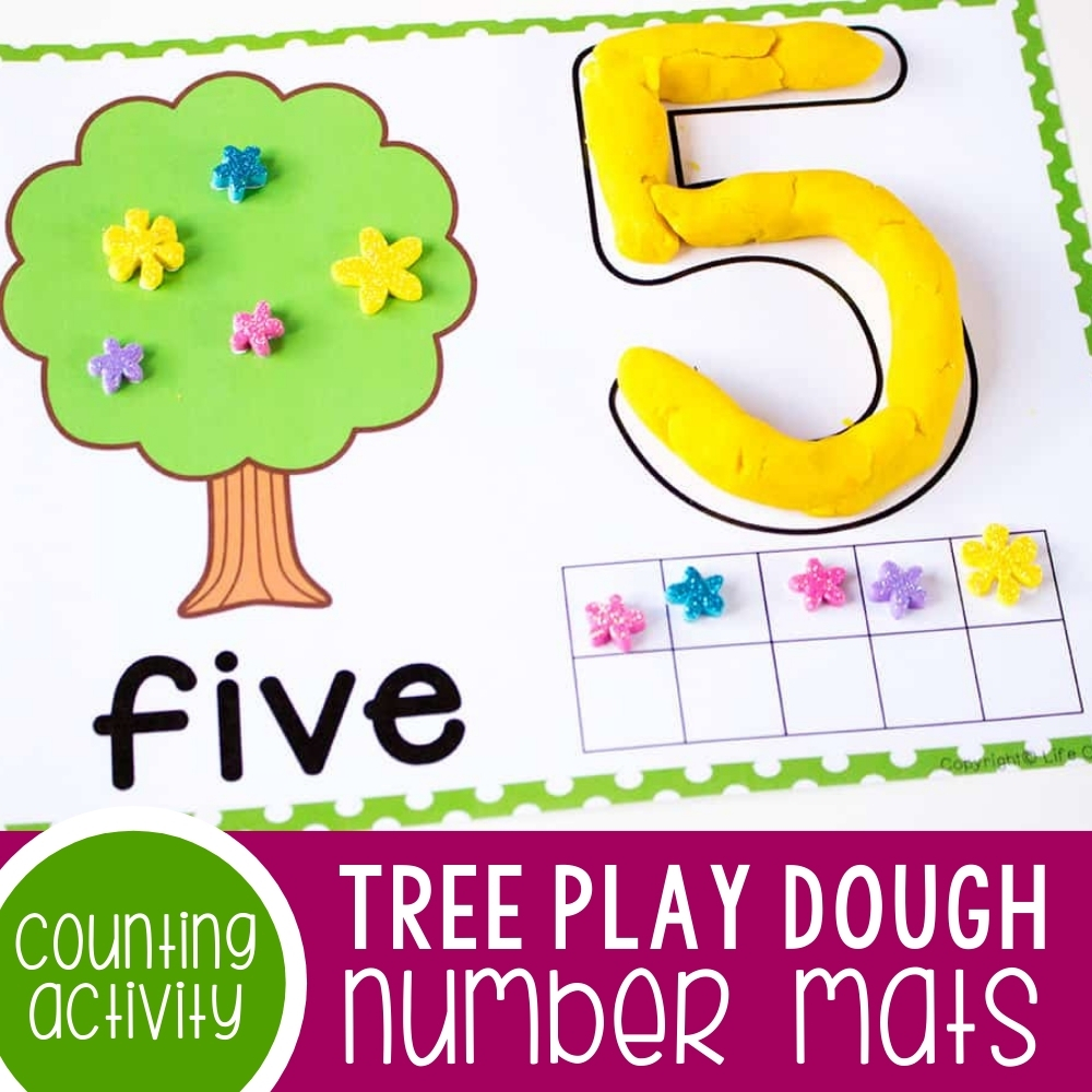 Tree Play Dough Number Mats for Counting to 10 Featured Square Image
