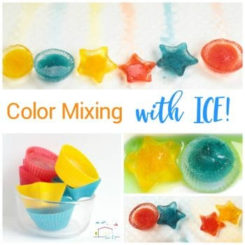 Teach preschoolers the basics of color theory and color science with the color mixing ice preschool science activity! Keep cool while learning!