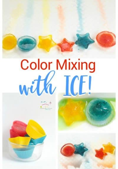 Teach preschoolers color theory and color science with the color mixing ice preschool science activity