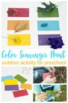 Toddlers and preschoolers will love searching for colors outside in the paint chip color scavenger hunt! Such a fun way to learn colors!