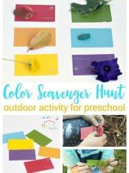 Preschool Paint Chip Outdoor Color Scavenger Hunt