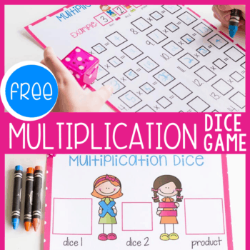 This fun free printable multiplication dice activity is a great way to review multiplication facts with your kids! They love the double-dice!