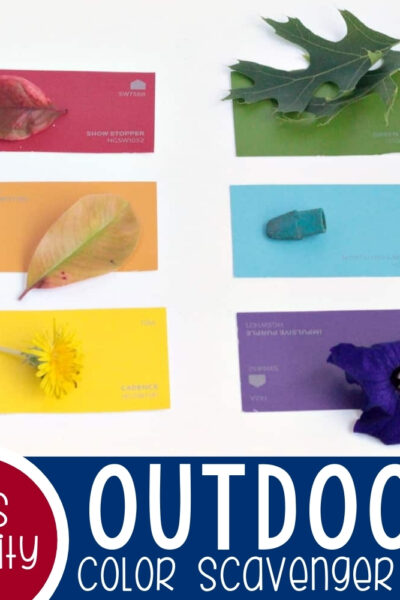 Preschool Paint Chip Outdoor Color Scavenger Hunt Featured Square Image