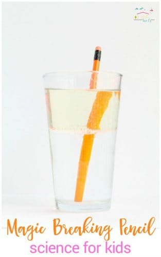 Light refraction breaking pencil science experiment for kids
