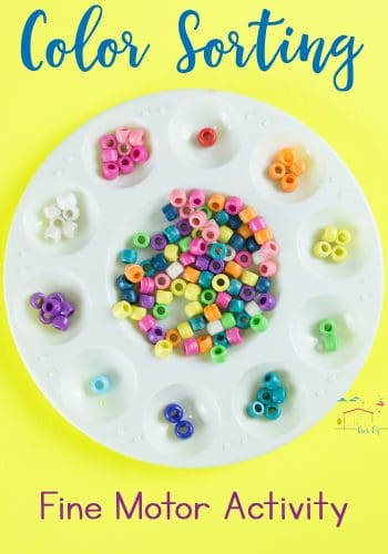 Use classic peeler beads for a simple color sorting activity for preschoolers!