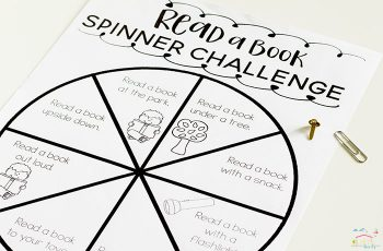 Get kids excited about reading with this free printable spinner reading challenge! Kids of all ages will love the challenges, plus there is a blank spinner to create your own challenges!