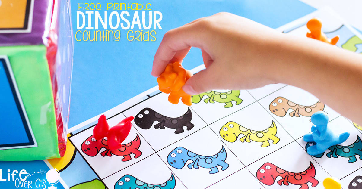 These free printable dinosaur counting grids for preschool are a great way to practice counting skills with your preschoolers! The kids will love the fun dinosaurs while working on one-to-one correspondence.