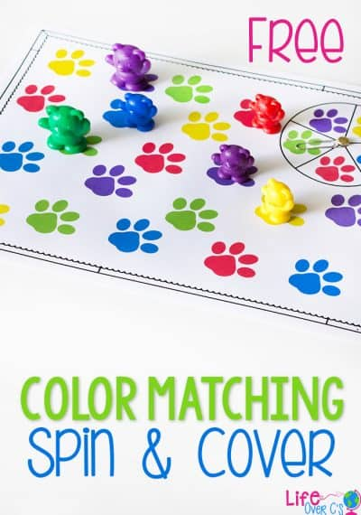 Practice matching colors with this fun paw print color matching spinner game for preschoolers. Use with a fun animal theme or anytime you want to work on learning colors with your kids!