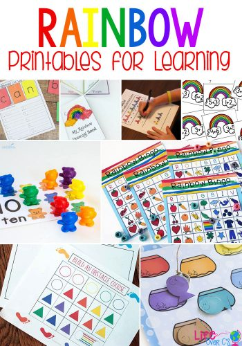 20+ Rainbow Printables for Learning! Simple math, color and letter recognition activities for kids and more. When kids have fun they learn better!