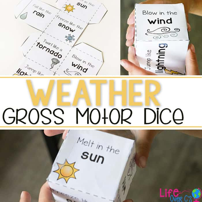 Free Printable Weather Gross Motor dice for kids. Perfect for brain breaks, a weather unit or just keeping the kids moving when they can't get outside to play.