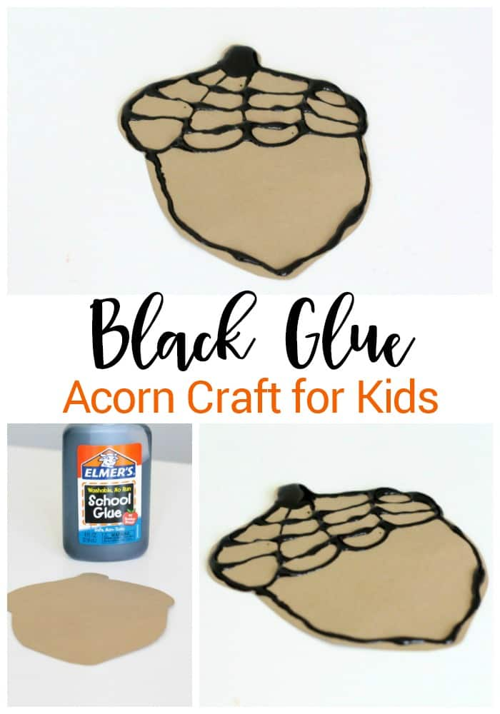 This black glue acorn fine-motor craft for kids is a great fall activity! Experiment with the black glue for a fun fall craft.