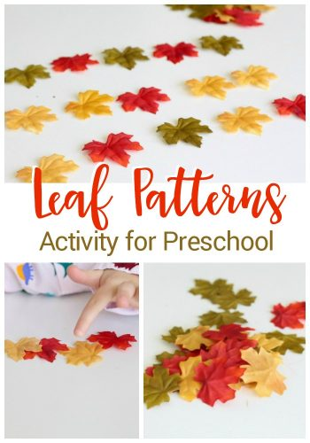 These leaf pattern activities for preschoolers are a great way to create a hands-on math center this fall. Use pretend leaves or grab some leaves from outside!