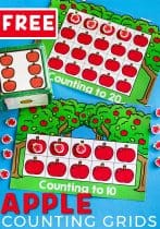 Get preschoolers excited about counting with this fun apple counting grid game set that goes perfectly with Ten Apples Up on Top! Practicing counting skills is so much fun when you play a game!