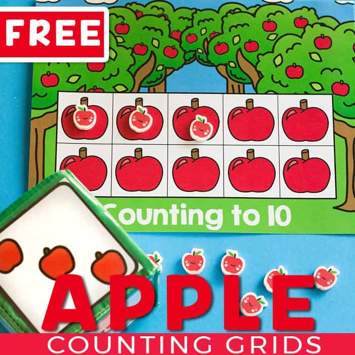 Your preschoolers will love this apple themed counting grid set!