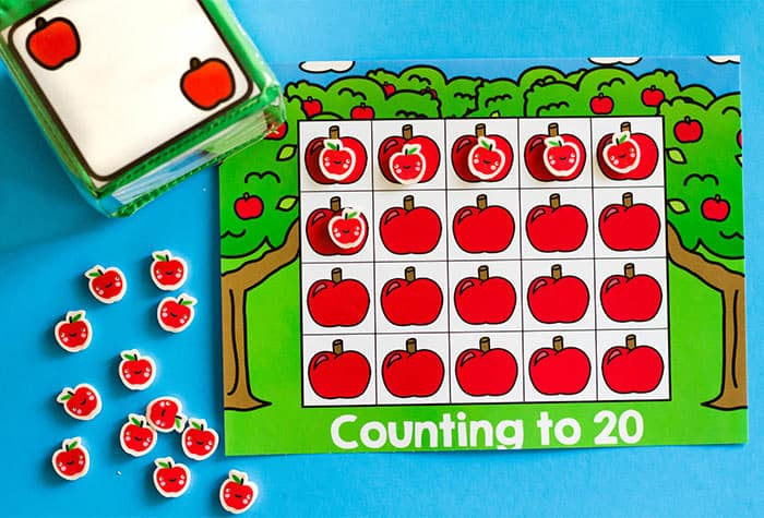 Practice counting to 20 and counting to 10 with these free printable apple math games for preschoolers.