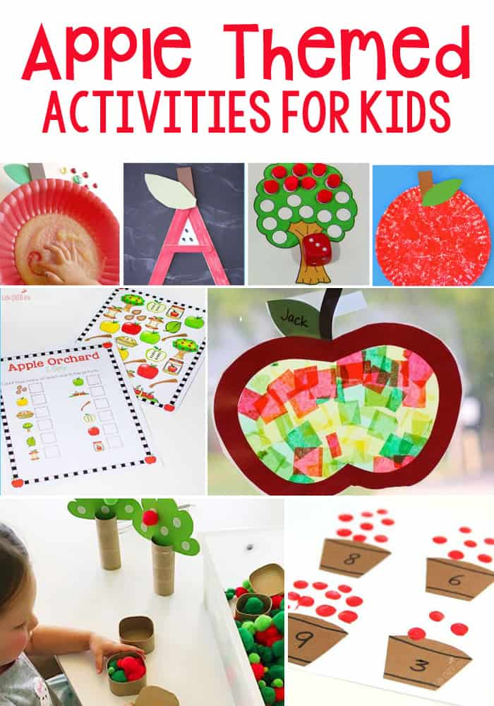 Apple Theme Activities For Kids- crafts, sensory activities, science, math, literacy and more! Find the perfect apple theme activities for your kids!