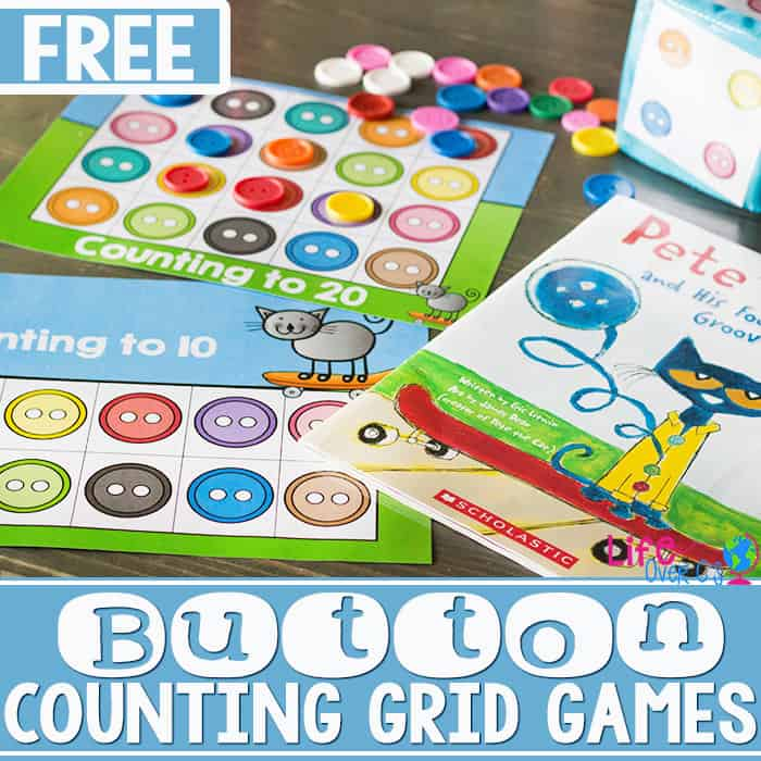 Free Printable Button Counting Grid Game for Preschool