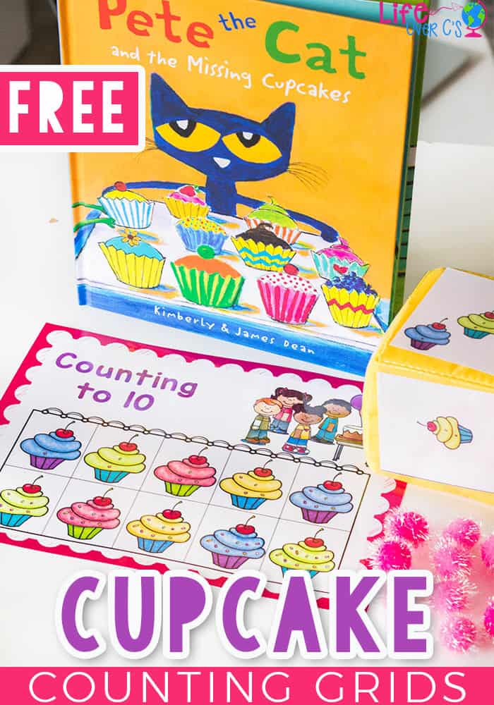 Get preschoolers excited about counting with this fun cupcake counting grid game set that goes perfectly with Pete the Cat and the Missing Cupcakes! Practicing counting skills is so much fun when you play a math game!