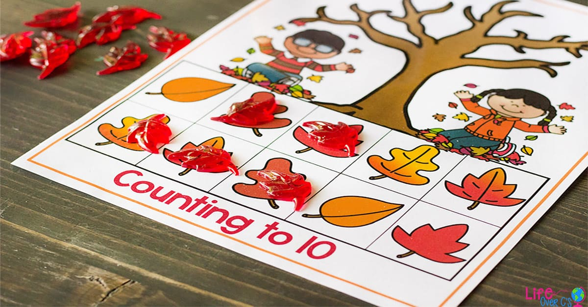free printable fall leaves counting grid games for