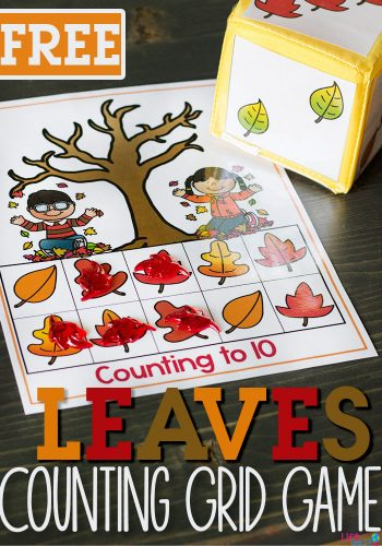 Free Printable Fall Leaves Counting Grid Games for Preschool