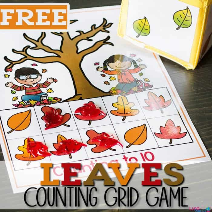 These free printable leaf counting grid games for preschool are a great way to practice counting skills with your preschoolers! The kids will love the fun fall theme while working on one-to-one correspondence.
