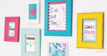 """Free printable wall art for girls bedrooms. Text says """"I've got this"""", """"Do hard things"""", """"Girls Rock"""" and """"Dream big"""""""