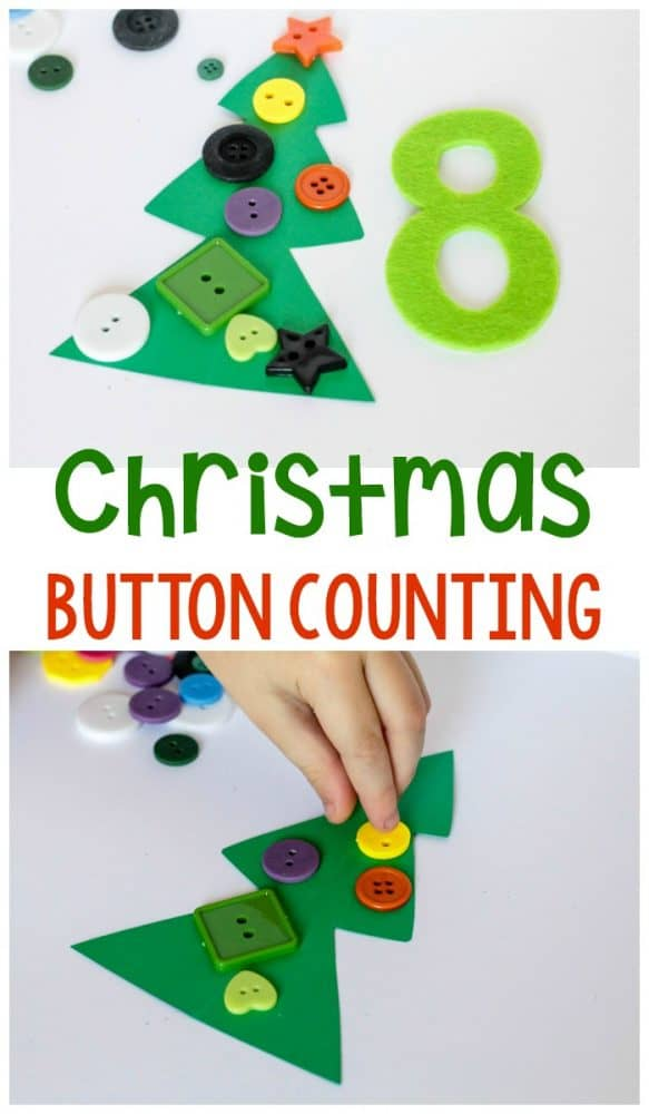 Grab your big buttons and practice counting with this fun Christmas tree button counting activity for preschoolers. #math #Christmas #preschool