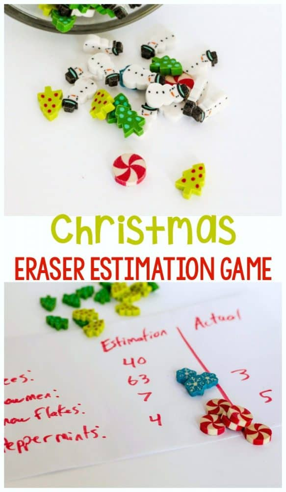 This no-prep Christmas math game is always a hit! Christmas mini eraser estimation game is a great way to work on estimation without worksheets!