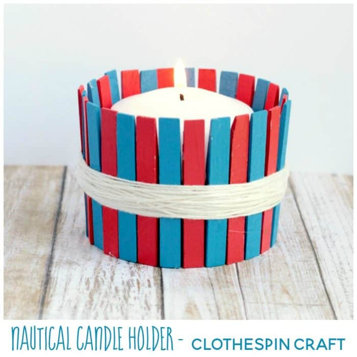 This easy DIY Clothespin Candle Holder is perfect for a nautical theme or a patriotic celebration! Make one for Memorial or the 4th of July!