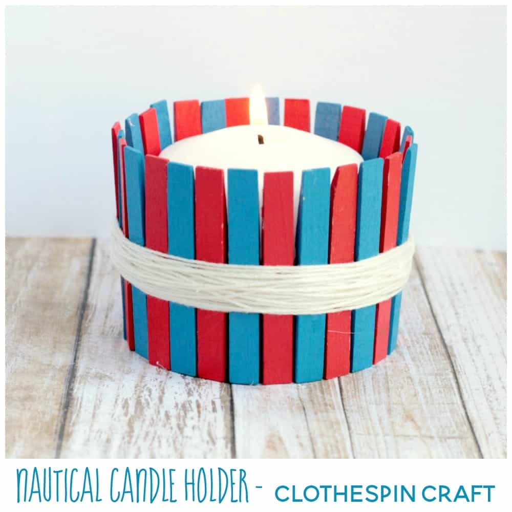 Easy DIY Nautical Clothespin Candle Holder