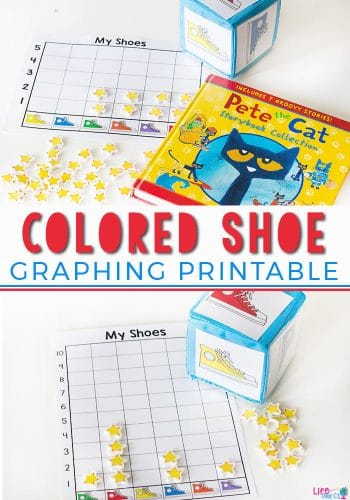 Learn about graphing with your preschoolers! This free printable colored shoe graphing printable is great with Pete the Cat books! It's also a great way to work on counting and learning colors1