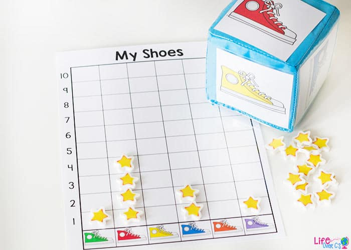 Grab your favorite Pete the Cat books and have fun graphing with this free printable colored shoe graphing activity for preschoolers.