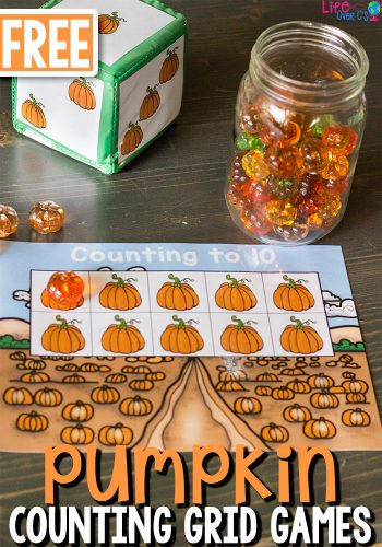 Free Printable Pumpkin Counting Grid Games for Preschool